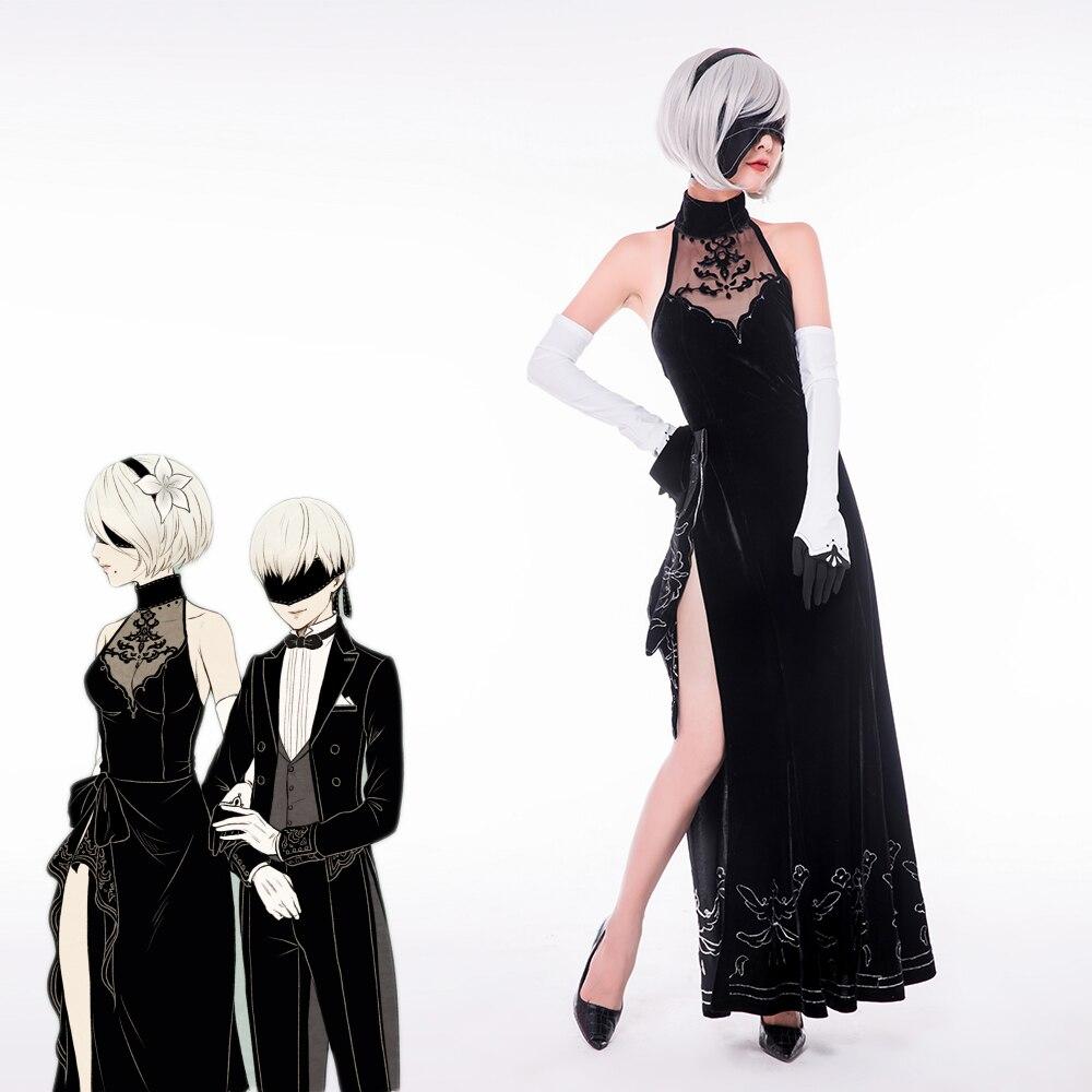 Game Anime NieR Automata cosplay YoRHa No 2 Type B 2B 9S Sexy cheongsam evening dress