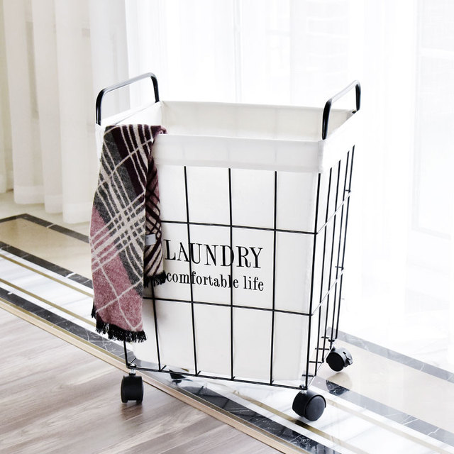 Dirty Clothes Storage Basket Retro Nordic Iron Household Laundry With Large Wheels