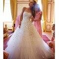 Robe de mariage 2016 Strapless A-line Líbano Vestido De Noiva novo estilo com Flores de Tule branco Vestidos de Casamento Vestido De Noiva