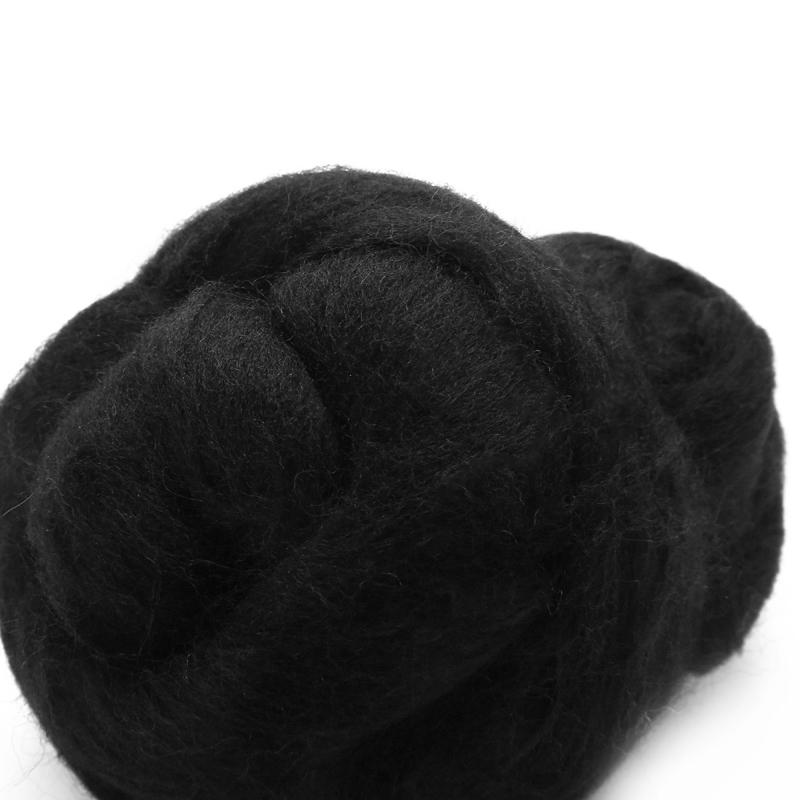 50g Black Merino Wool Fiber Fluffy Soft Dyed Wool Tops Roving Felting Wool Fibre For Needle Felting DIY Sewing Projects