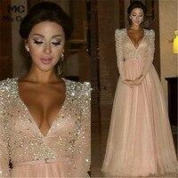 Abendkleider 2018 вечерние платья с длинным рукавом robe de soiree розовые длинные вечерние платья с кристаллами для женщин