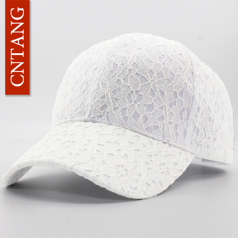 CNTANG Brand Summer Lace Hat Cotton   Baseball     Cap   For Women Breathable Mesh Girls Snapback Hip Hop Fashion Female   Caps   Adjustable