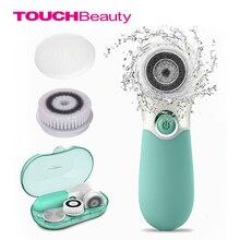 Touchbeauty impermeável escova facial limpeza profunda conjunto com 3 cabeça de escova de rotação diferente, dispositivo de limpeza de cara de duas velocidades tb 14838