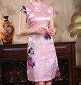 Розовые свадебные свадебные ну вечеринку платье китайских женщин традиционное шелк чонсам мини сексуальные Qipao цветочные Большой размер с до XXXL HB037
