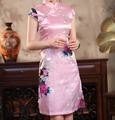 Rosa nupcial do casamento vestido de festa mulheres chinesas de seda tradicional Cheongsam Mini Sexy Qipao Floral Plus Size S a XXXL HB037