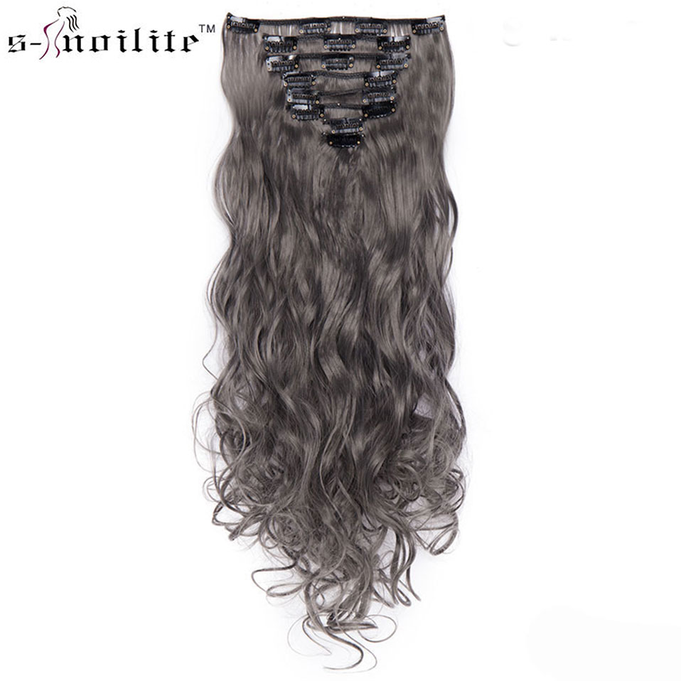 SNOILITE 8pcs/set 24inch 180g Curly 18 Clip Ins Synthetic Hair Extension Clip In Hair Hairpiece Hair Clip Extensions Ombre