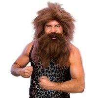 Хэллоуин коренной Человек парик обслуживание дикарская голова парик борода косплей маска на Хеллоуин для косплея вечерние украшения костю...