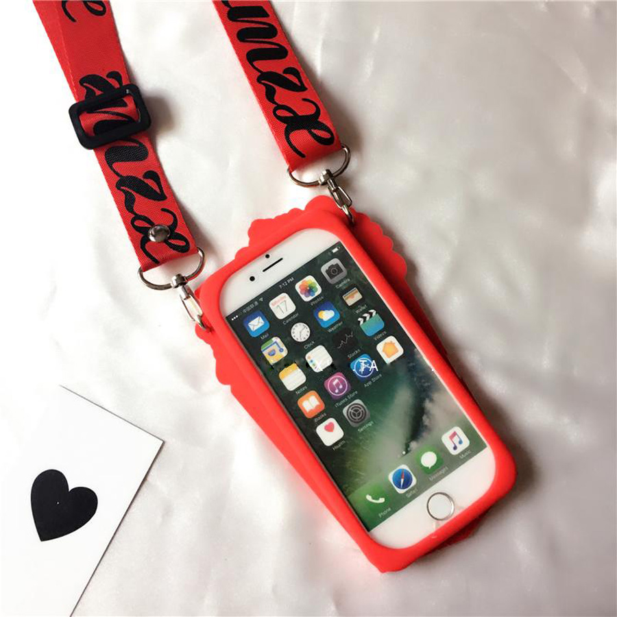 For iphone 6 6s plus 7 8 plus X case cover Funny 3d Popcorn with shoulder strap shockproof protective phone bag Ritozcase