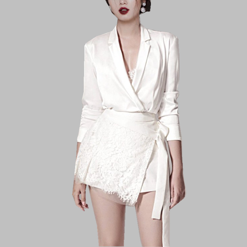 HAMALIEL Spring Women 2 Piece Set 2019 Runway White Sexy Silk Turn Down Collar Shirt Suits + Tie Bow Lace Mini Party Skirt Suits