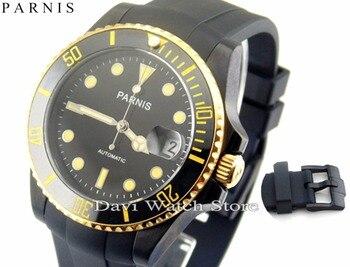 Parnis 40mm Ceramic Bezel sapphire glass automatic mens PVD watch