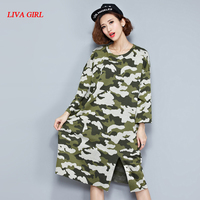 Plus Size Women Dress Autumn Style T Shirt Camouflage Cotton Casual Fashion Female Loose Tops Tees