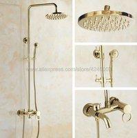 Роскошные золотые Цвет латунь Ванная комната 8 Дождь душа Установить настенный ванна душ смесителя Kgf402
