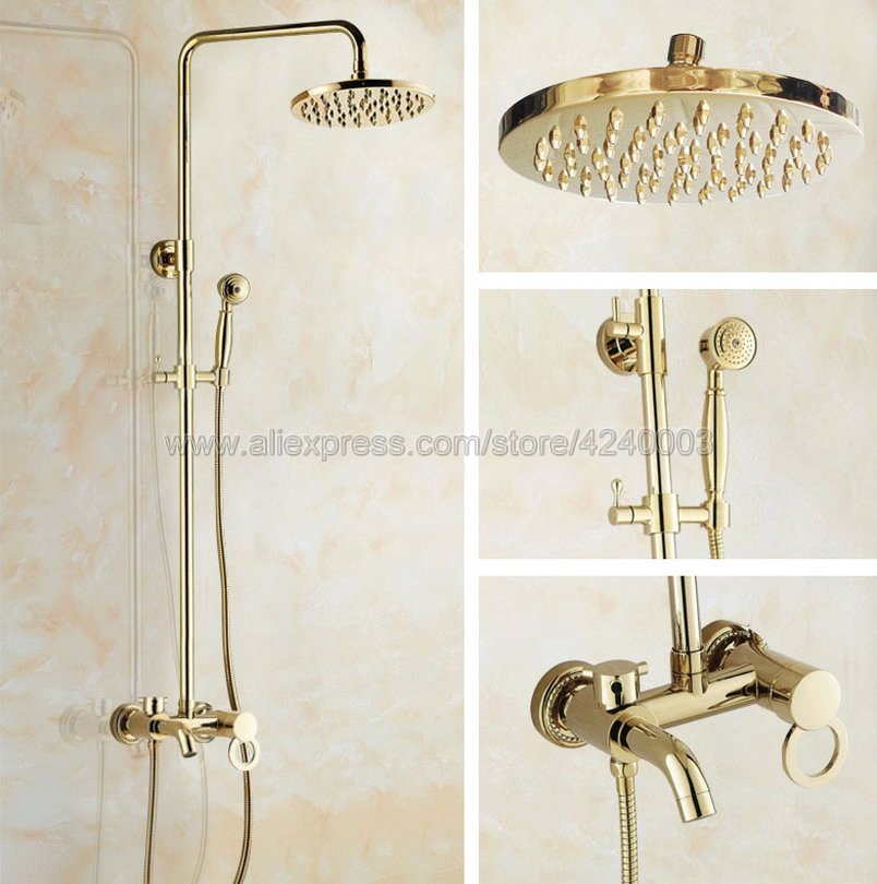 Luxury Gold Color Brass Bathroom 8 Rain Shower Faucet Set Wall Mounted Tub Shower Mixer Tap Kgf402Luxury Gold Color Brass Bathroom 8 Rain Shower Faucet Set Wall Mounted Tub Shower Mixer Tap Kgf402