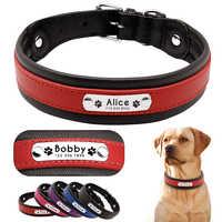 Personalisierte Leder Hund Kragen Customized Gravur Haustier Großen Hund Bulldog Halsbänder Padded Für Medium Large Hunde Perro Pitbull