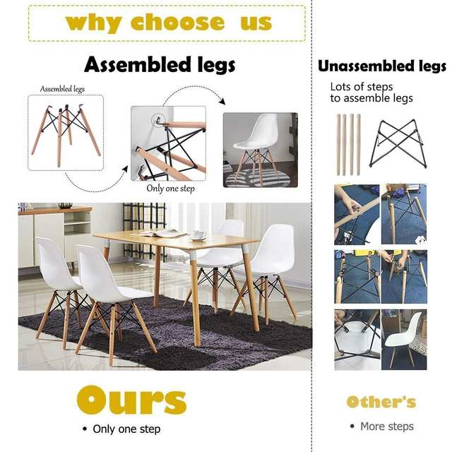 Online Shop Giantex Set Of 2pcs Mid Century Dining Chair Modern Wood