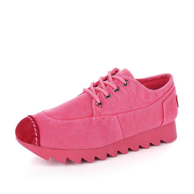 New 2016 Spring Autumn Thick Heel Women's Canvas Shoes Breathable Lace up Casual Shoes Women Platform Footwear N221