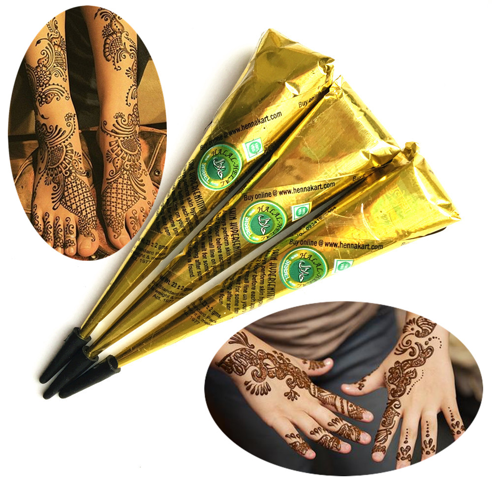 3PC/LOT Brown Color Temporary Henna Tattoo Paste Cream For Stencil Indian Mehndi Sweatproof Body Art Tattoo Cones Finger Paint