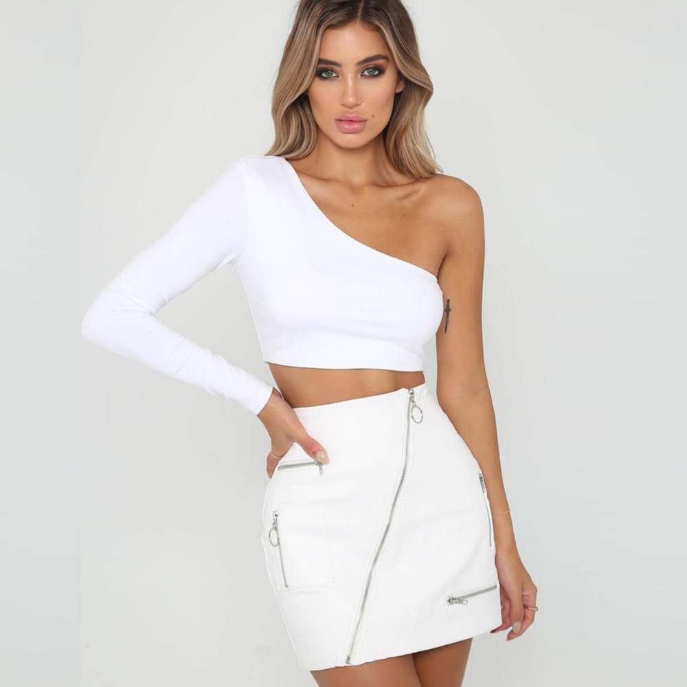 Red White Sexy T-Shirt For Female Bustier Crop Top T Shirt Casual One Off Shoulder long sleeve Crop Top Women Summer tshirt 2019 image