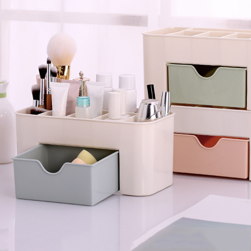 Plastic Cosmetic Storage Box Jewelry Sundries Desk Container with Small Drawer HG99