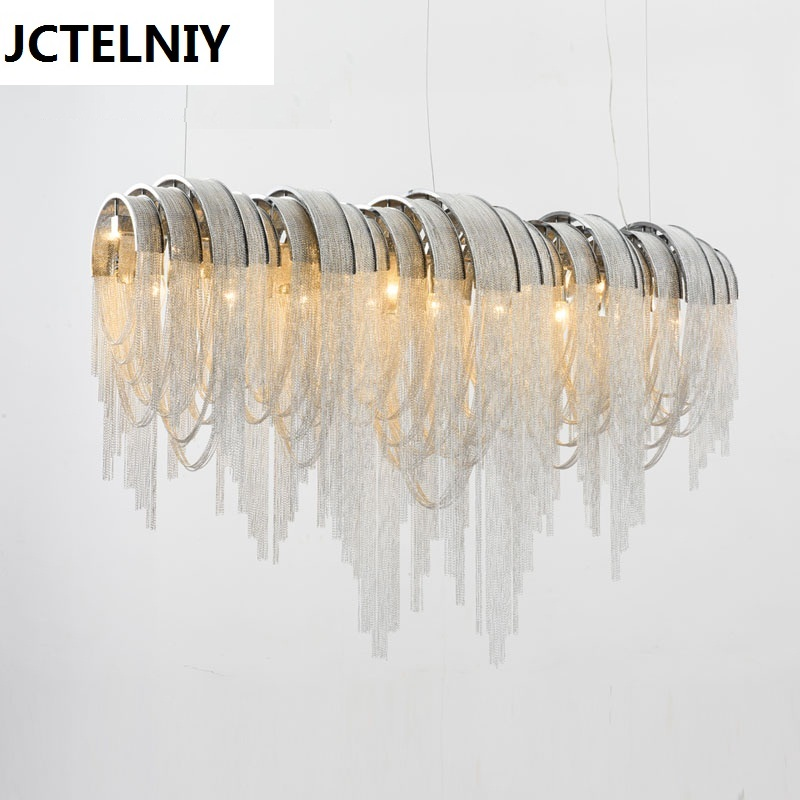 Italian luxury Atlantis aluminum curtain chain droplight sitting room dining-room light villa hotel engineering ideas LED lamps northern american mediterranean crystal droplight sitting room dining room bedroom villa hotel lobby engineering lamps