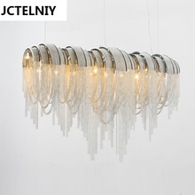 ФОТО italian luxury atlantis aluminum curtain chain droplight sitting room dining-room light villa hotel engineering ideas led lamps