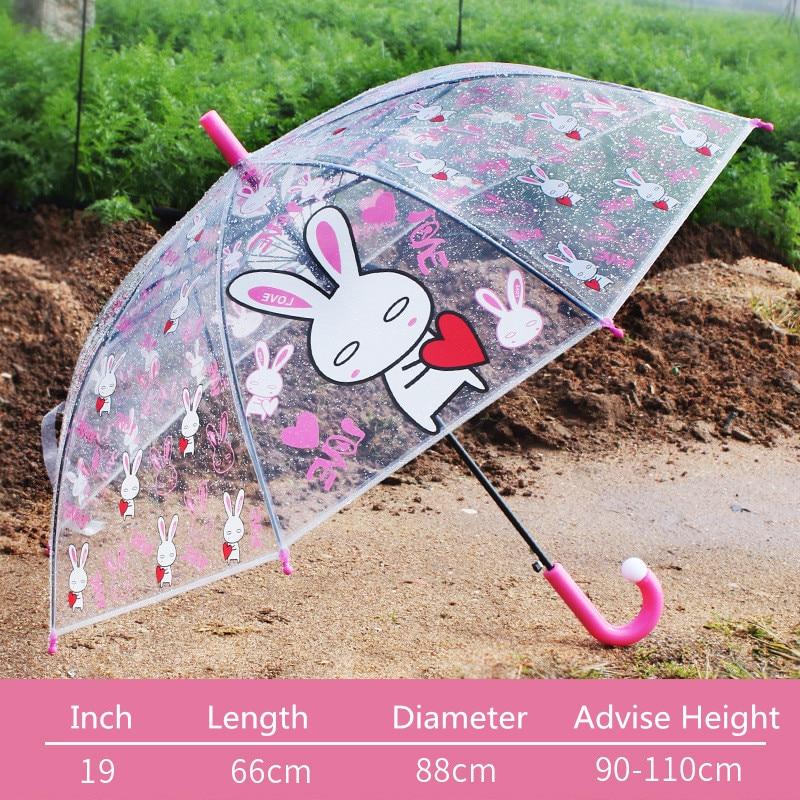 Cartoon Print Transparent Umbrella Cute Frog,rabbit,giraffe,bear Kids Long-handle Rain Umbrella For Child YS116