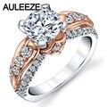 1.5CT Corte Redondo D Color Moissanites Anillo de Compromiso 14 K Dos tono Oro Laboratorio Crecido Diamond Flower Art Anillos de Compromiso Para mujeres