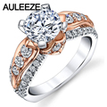 1.5CT Round Cut D Color Moissanites Engagement Ring 14K Two Tone Gold Lab Grown Diamond Flower Art Engagement Rings For Women