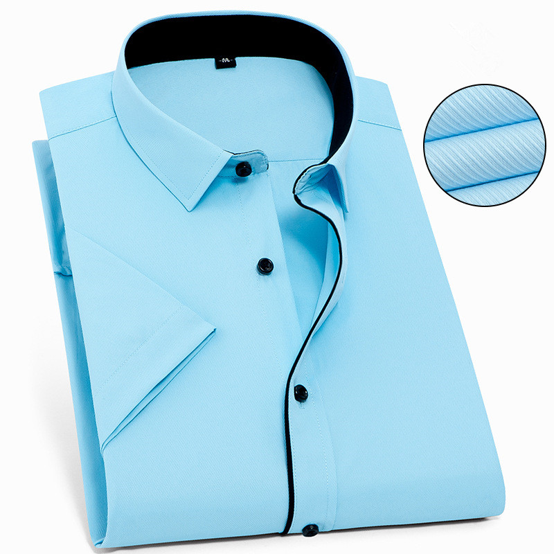 5XL 6XL 7XL 8XL Large Size Twill / Pure Color Thin Half Sleeve White Shirt Men Short Sleeves Fit Formal Male Social Shirts