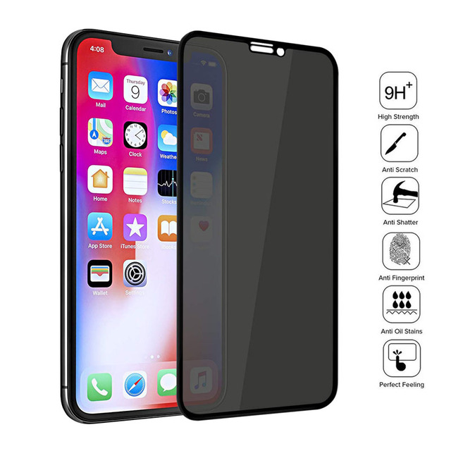 Iphone Privacy Screen Cover – Full Cover Private Screen Protector For iPhone X XS MAX XR Antispy Tempered Glass For iPhone 11 6 7 8 Plus Privacy Glass