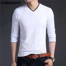 COODRONY Brand T Shirt Men Cotton Tee Homme Streetwear Fashion V-Neck Top Tshirt Clothes 2019 Autumn T-Shirt 95025