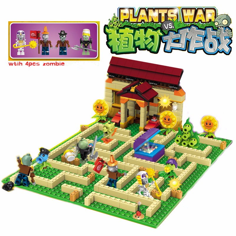 Plants vs Zombies Garden maze struck game Building Blocks Bricks Toys For kids figures My world Minecraft Model 52pcs set plants vs zombies pvz collection figures toy all the plants and zombies figure toys free shipping