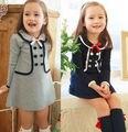 Frete grátis 5 pc/lote 2015 primavera / outono moda manga comprida do bebé do vestido escola / roupa, Crianças vestido cinza, Marinha