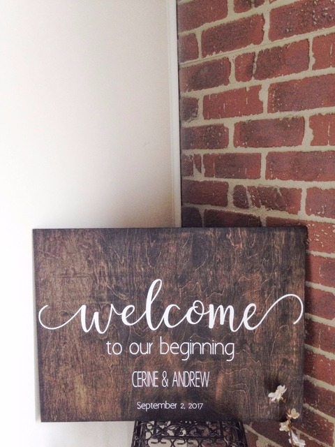Welcome to our beginning wedding sign stickers waterproof wedding wood decals custom bride and groom name