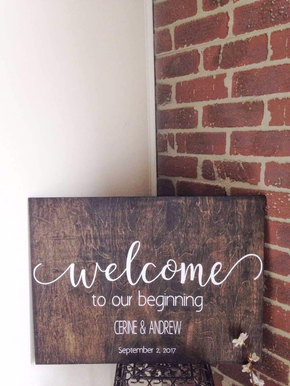 Welcome To Our Beginning Wedding Sign Stickers Waterproof Wedding Wood Decals Custom Bride and Groom Name Date Wall Sticker S004