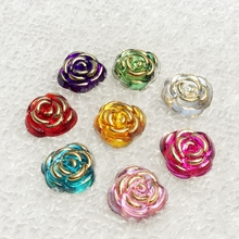Hot 40pcs 15mm Rose Flower Resin Crystal Stones Flatback Rhinestone Button for DIY Craft Clothes Decoration -A40