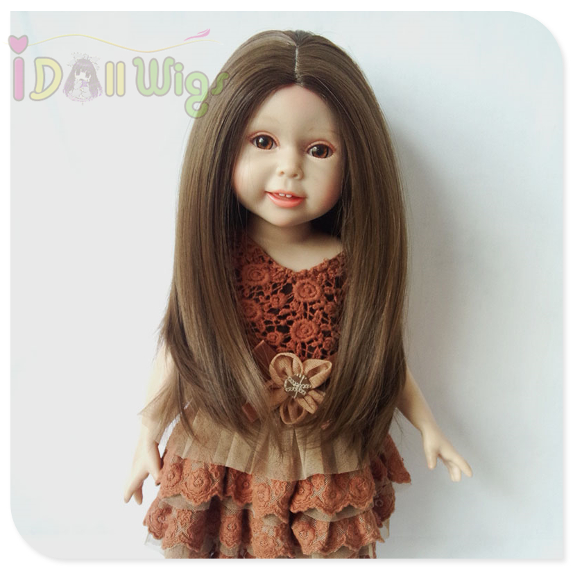 Natural Color Dark Brown Soft Straight Synthetic Hair Wig for 18 inch American Girl Doll with 26cm Head Circumference wig hair medium silky straight bob side parting colormix synthetic wig