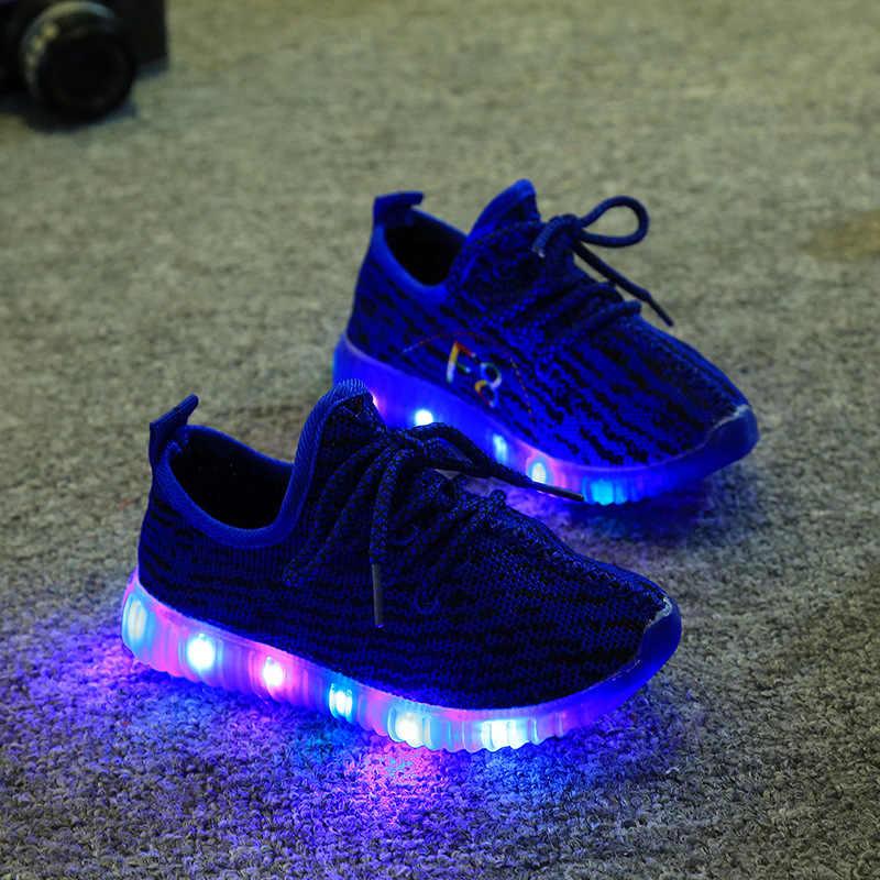 Enfants Bébé Filles Garçons Lumière DEL Lumineux Course Sport Sneaker Chaussures LIU9