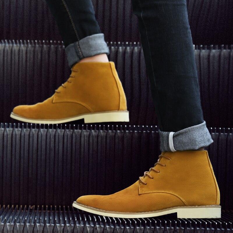 В стиле ретро на каблуке 3 5 см, ботильоны на высоком каблуке Для мужчин классические кожаные ботинки martin красного и черного цвета с заклепка... - 6