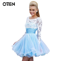OTEN Mini Party Dress Women See Through White Lace Patchwork Long Sleeve Sexy Backless A Line