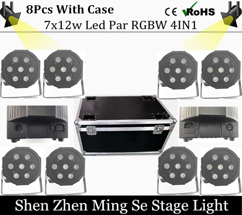 8cs/lot  7x10W led Par lights RGBW 4in1 flat par led dmx512 disco lights professional stage dj equipment with flight case