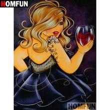 HOMFUN 5D DIY Diamond Painting Full Square/Round Drill Cartoon fat woman Embroidery Cross Stitch Mosaic Home Decor Gift A09426