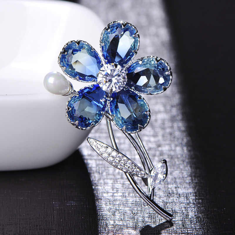 704939f4d0 Madrry Luxury Blue Flower Shape Brooches Shining Rhinestone Jewelry Pin For  Women Girls Suit Coat Dress Sweater Pins Accessories