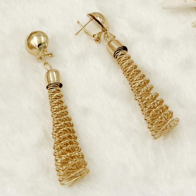 African Jewelry Fashion Women Gold Flower Necklace Earrings Set Turkish
