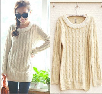 Long knitted women cotton sweater beaded warm oversized winter ...
