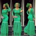 2017 Nigéria Verde Renda Mãe Mãe do Vestido de Noiva Aberto voltar Vestidos de Festa de Casamento Custom Made Vestidos de Madre de la Novia