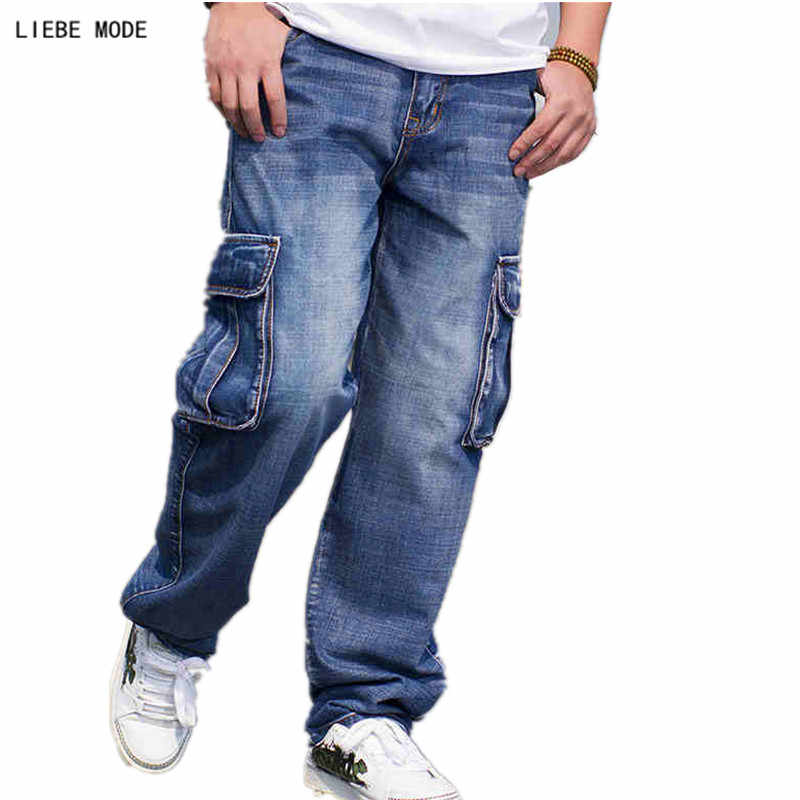 Japanese Style Mens Straight Cargo Pants Baggy Denim Biker Jeans Men Blue Loose Heavy Jeans With Side Pockets Plus Size 44 46