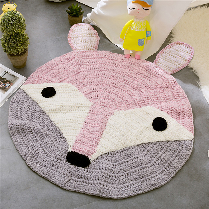Motif oreilles de renard rose Crochet tapis ronds et tapis pour enfants décoration de chambre enfants bébé couverture jeu jeu tapis à tricoter doux