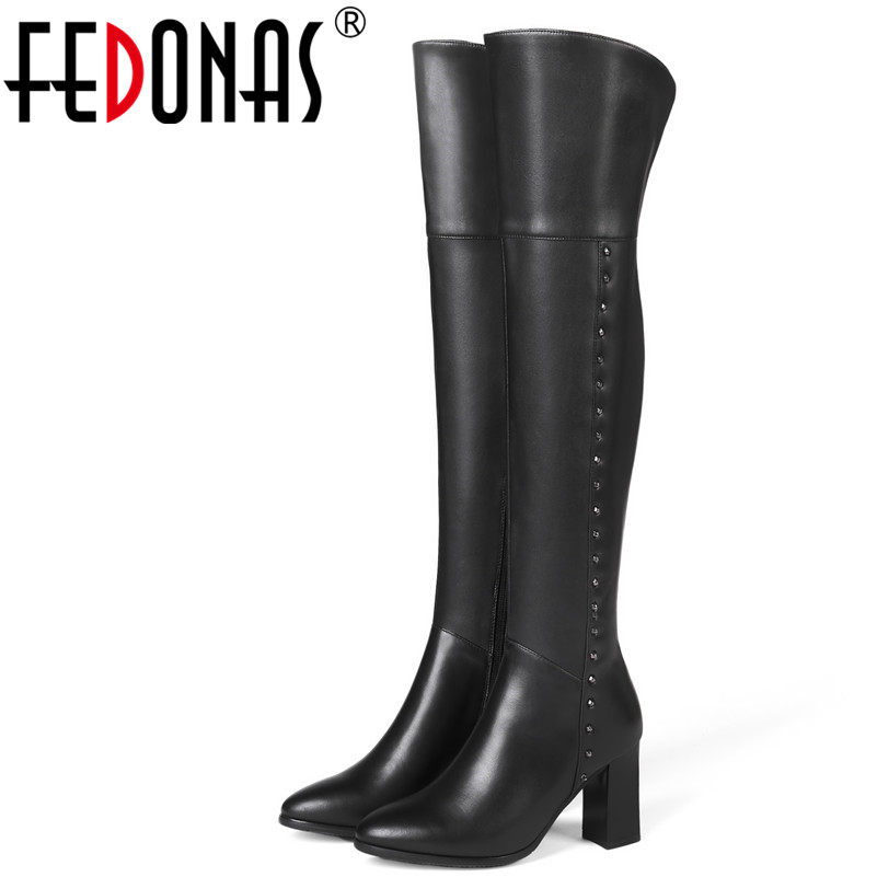 FEDONAS 1Fashion Women Over The Knee Boots Autumn Winter Warm Genuine Leather High Heels Shoes Woman Round Toe Zipper High Boots michael kors 30s6grum2l 532