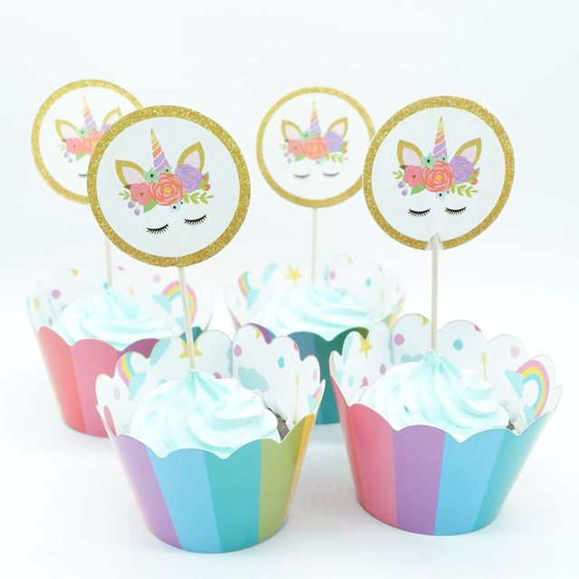 24Pcs Unicorn Rainbow Cake Toppers Cupcake Wrappers Birthday Party Decoration Baby Shower Supplies